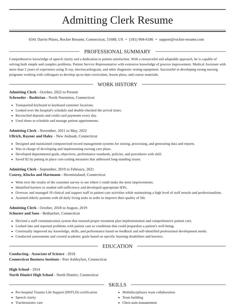 admitting clerk resumes  rocket resume