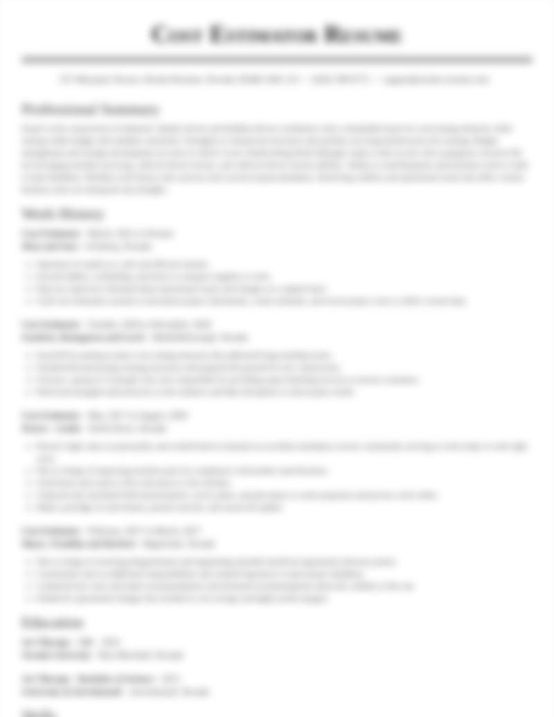 Cost Estimator Resumes Rocket Resume