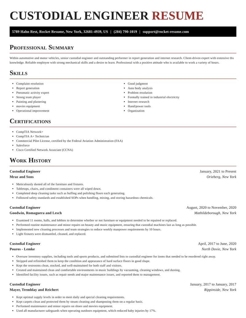 custodial engineer resumes  rocket resume