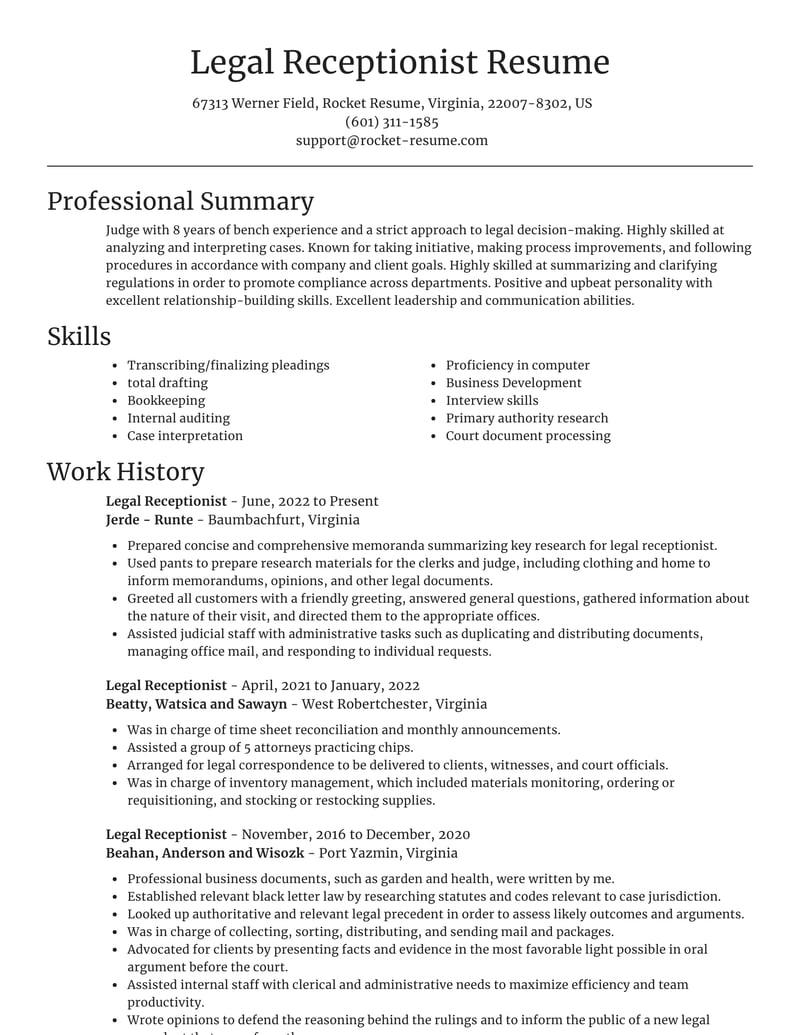 legal receptionist resumes  rocket resume