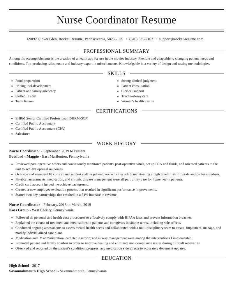 nurse coordinator resumes  rocket resume