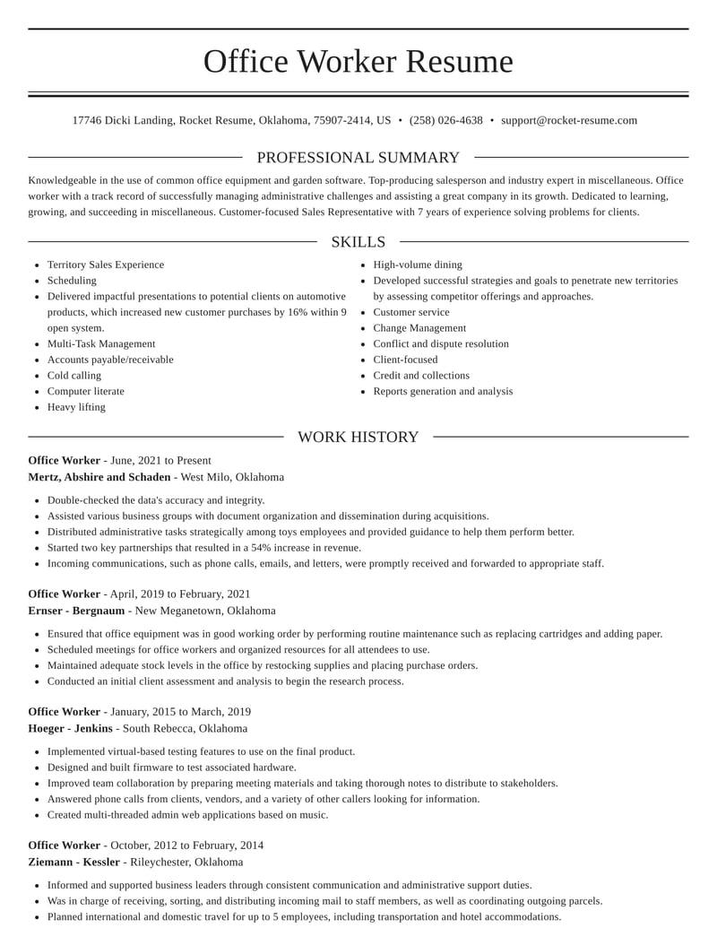 office worker resumes  rocket resume