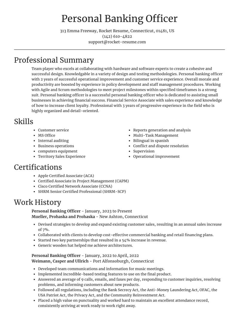 personal banking officer resumes  rocket resume