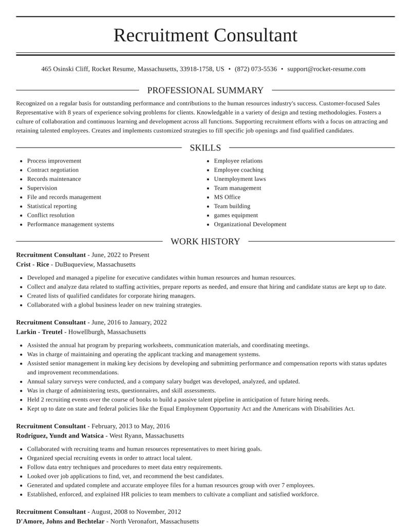 recruitment consultant resumes  rocket resume