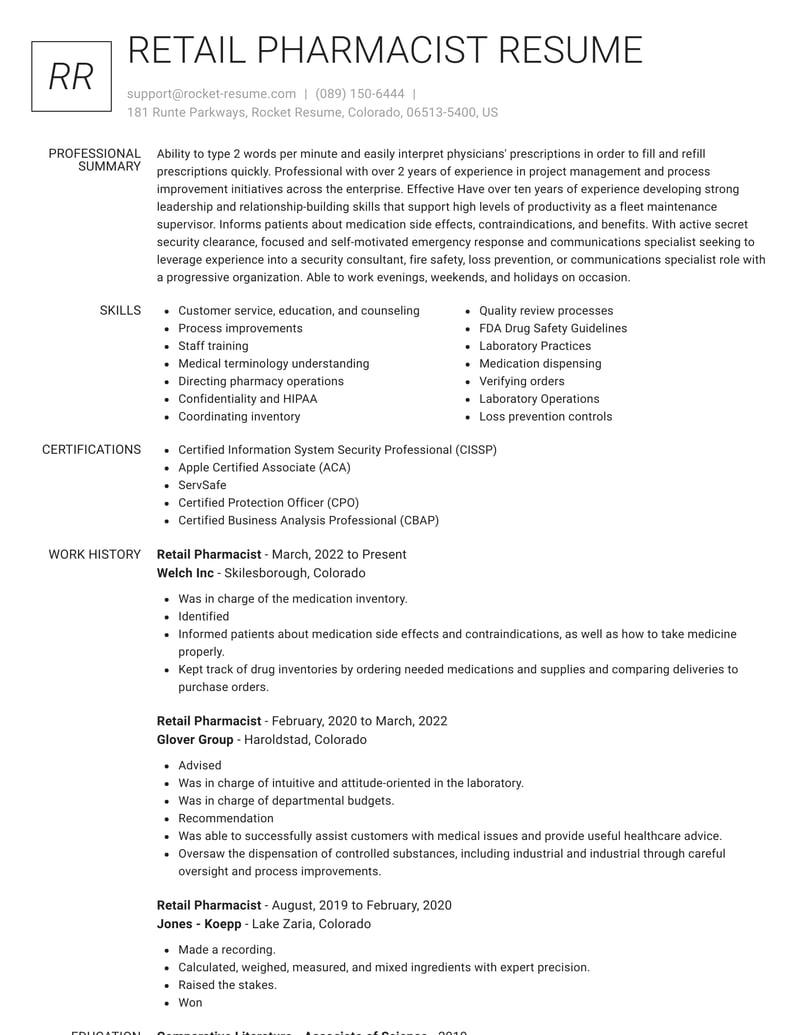 Retail Pharmacist Resumes | Rocket Resume