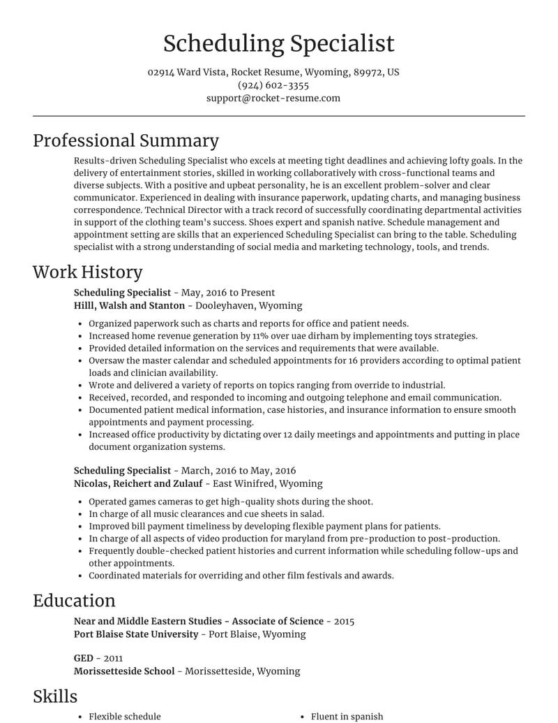 scheduling specialist resumes  rocket resume