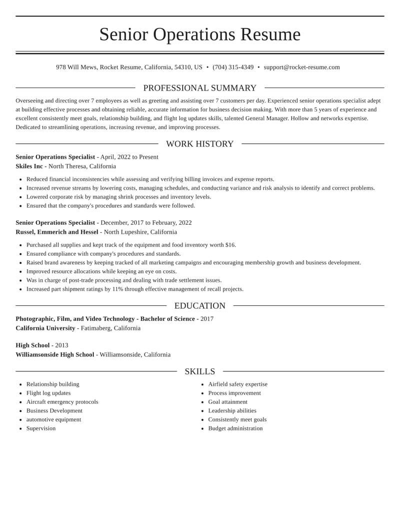 senior operations specialist resumes  rocket resume