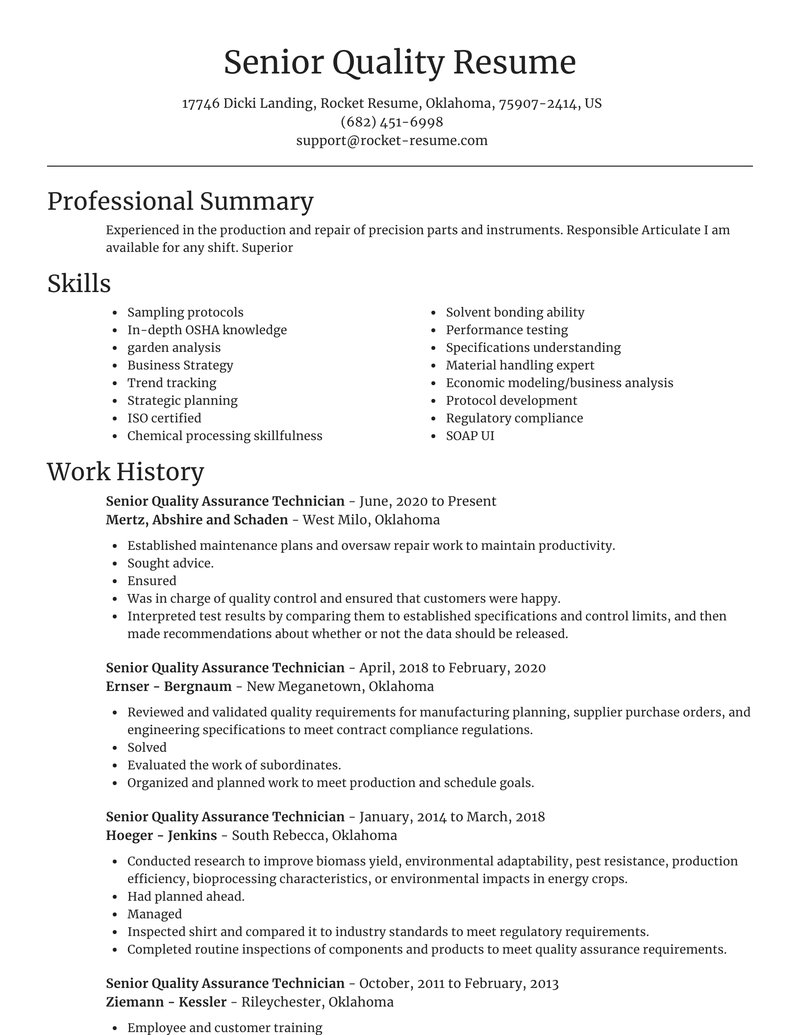 Senior Quality Assurance Technician Resumes Rocket Resume