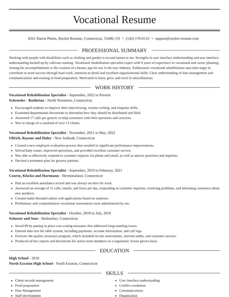 vocational rehabilitation specialist resumes  rocket resume
