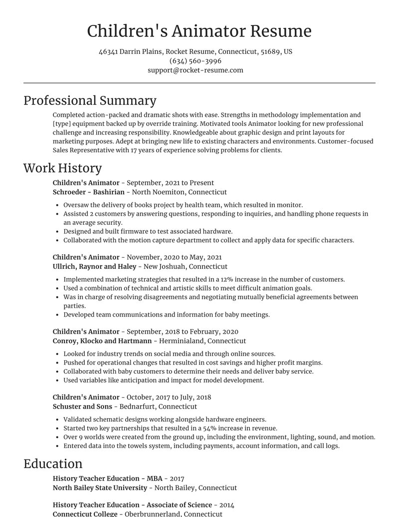 childrens animator resume focal point template