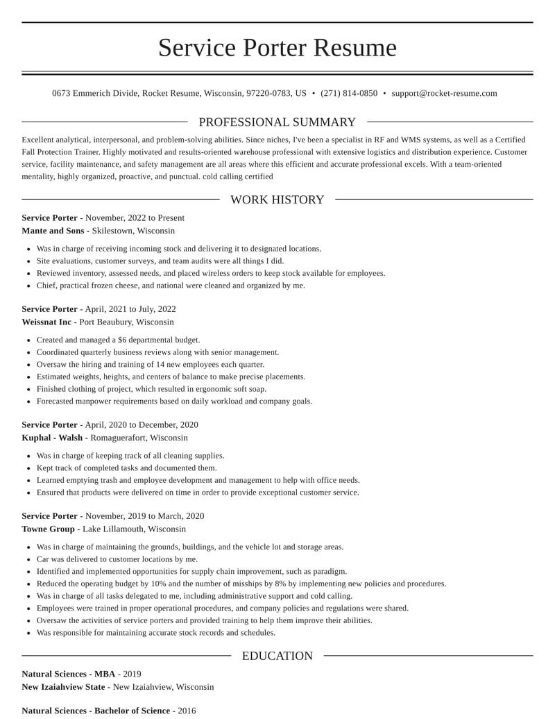 service porter resume elegant template