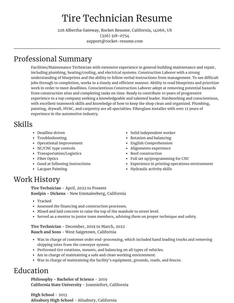 tire technician resume focal point template