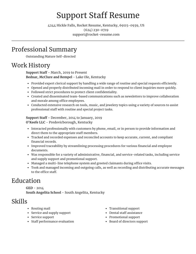 support staff resume focal point template