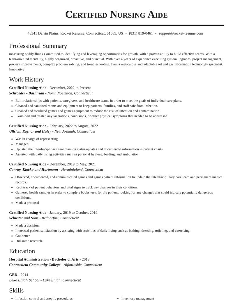 certified nursing aide resume classic template