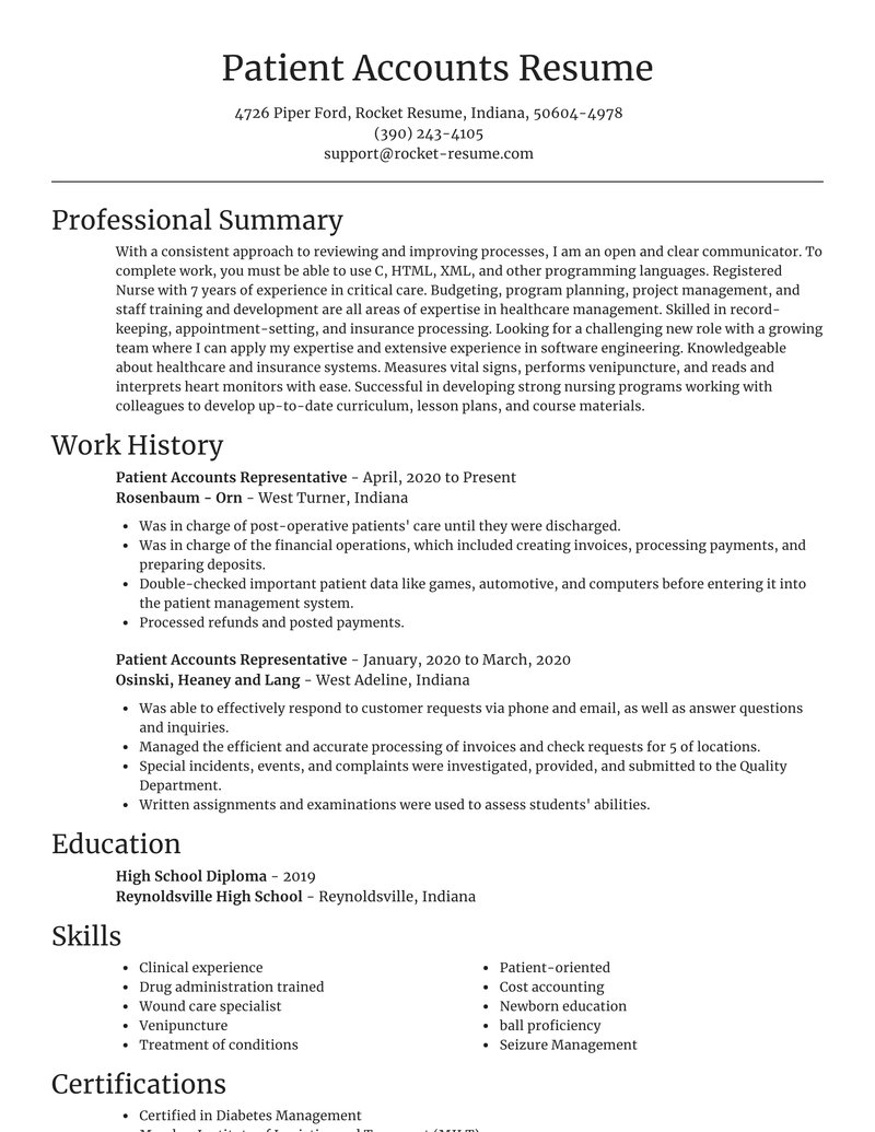 patient accounts representative resume focal point template