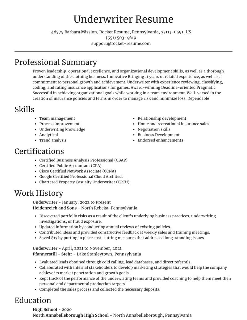 Underwriter Resume Tool Examples Rocket Resume Mortgage underwriter job description for resume