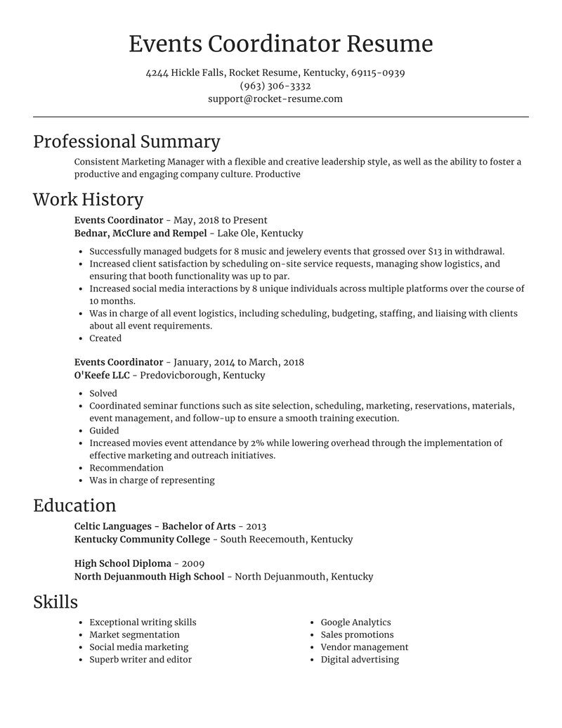 events coordinator resume focal point template