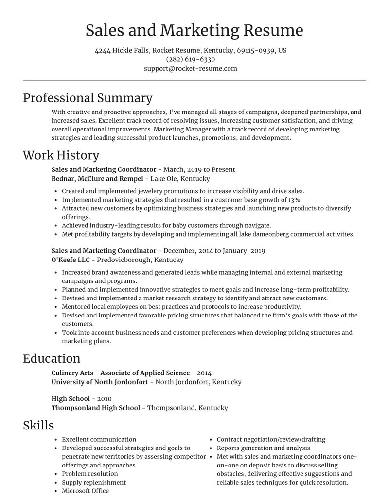 sales and marketing coordinator resume focal point template