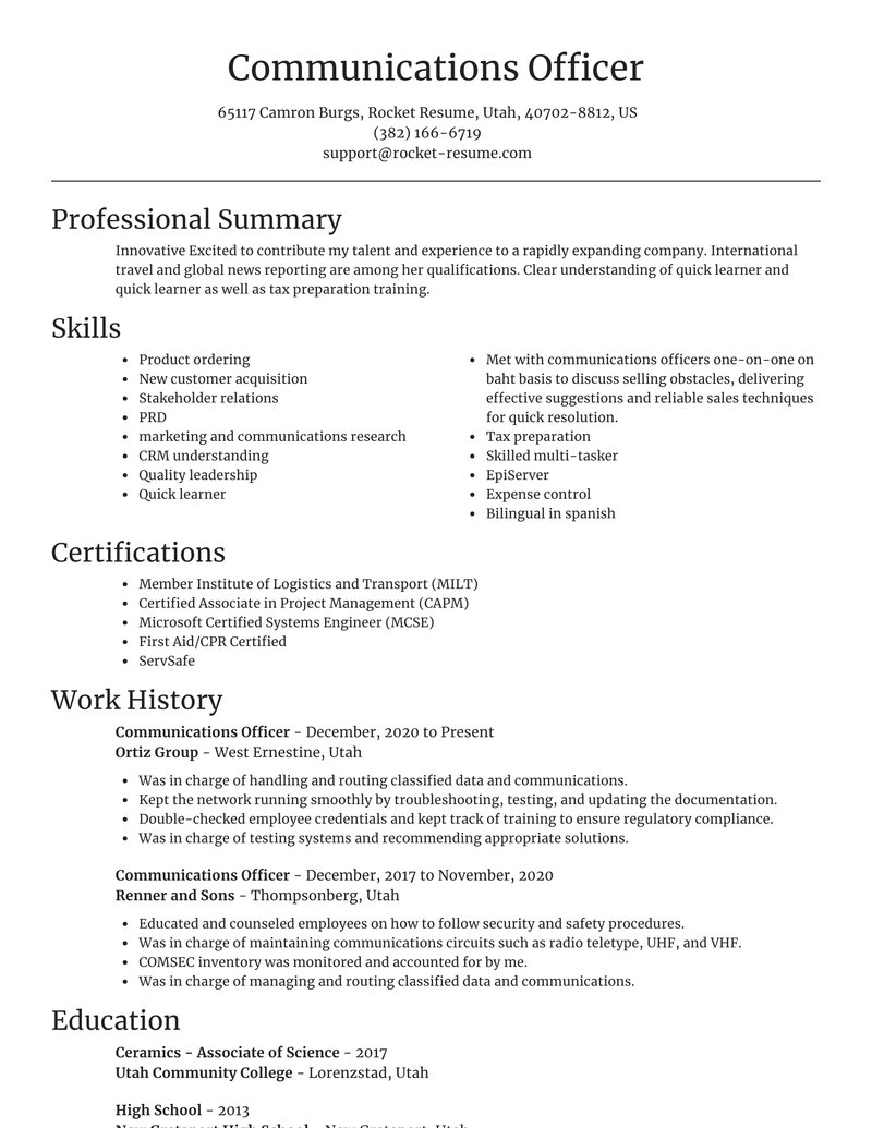 marketing and communications resume focal point template
