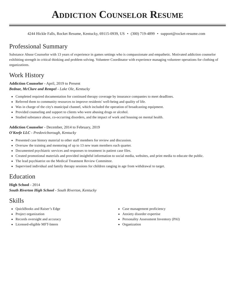 addiction counselor resume classic template