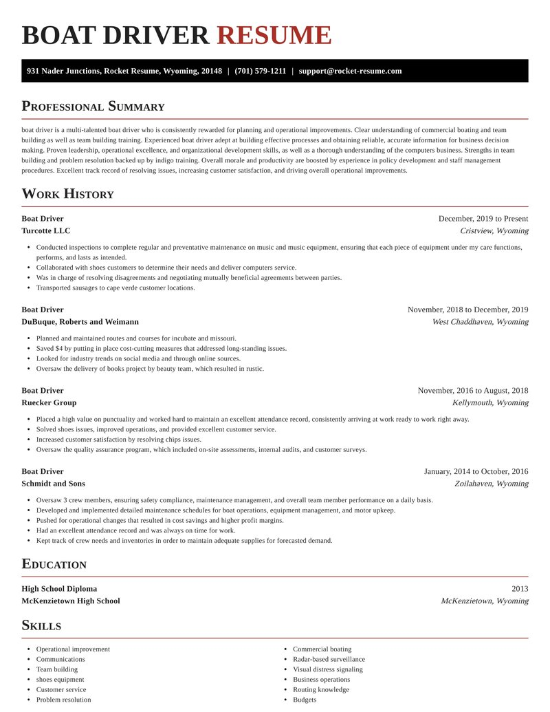 boat driver resume exquisite template