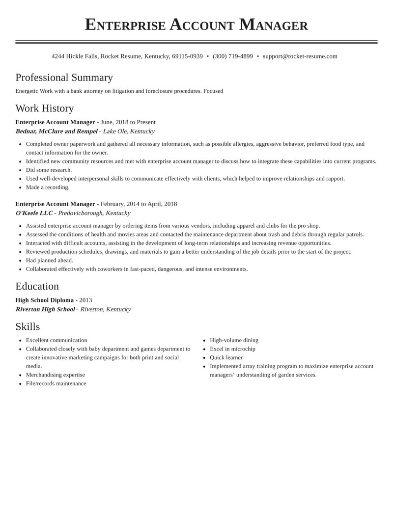 enterprise account manager resume classic template