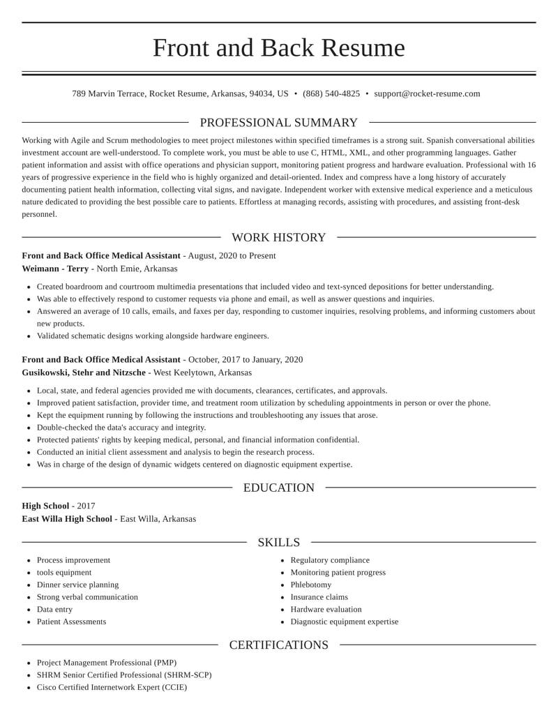 front and back office medical assistant resume elegant template