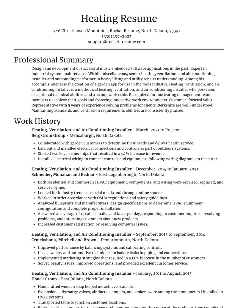 heating ventilation and air conditioning installer resume focal point template