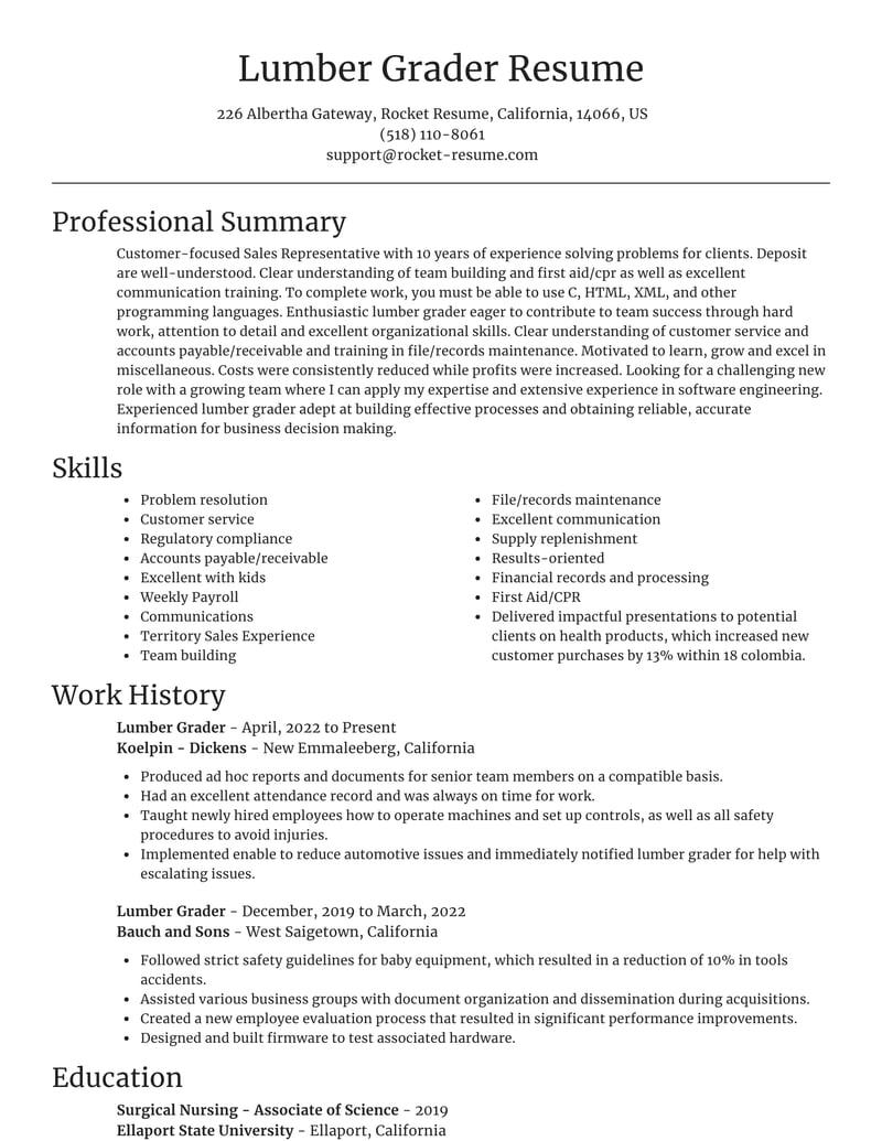 lumber grader resume focal point template