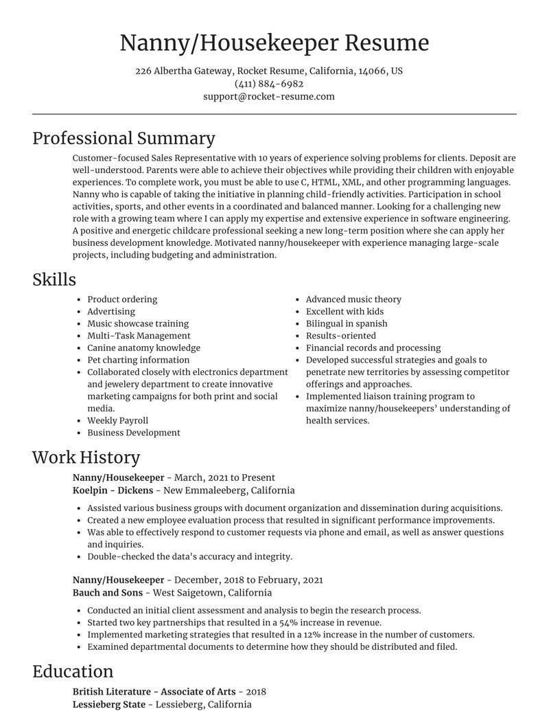 nanny housekeeper resume focal point template