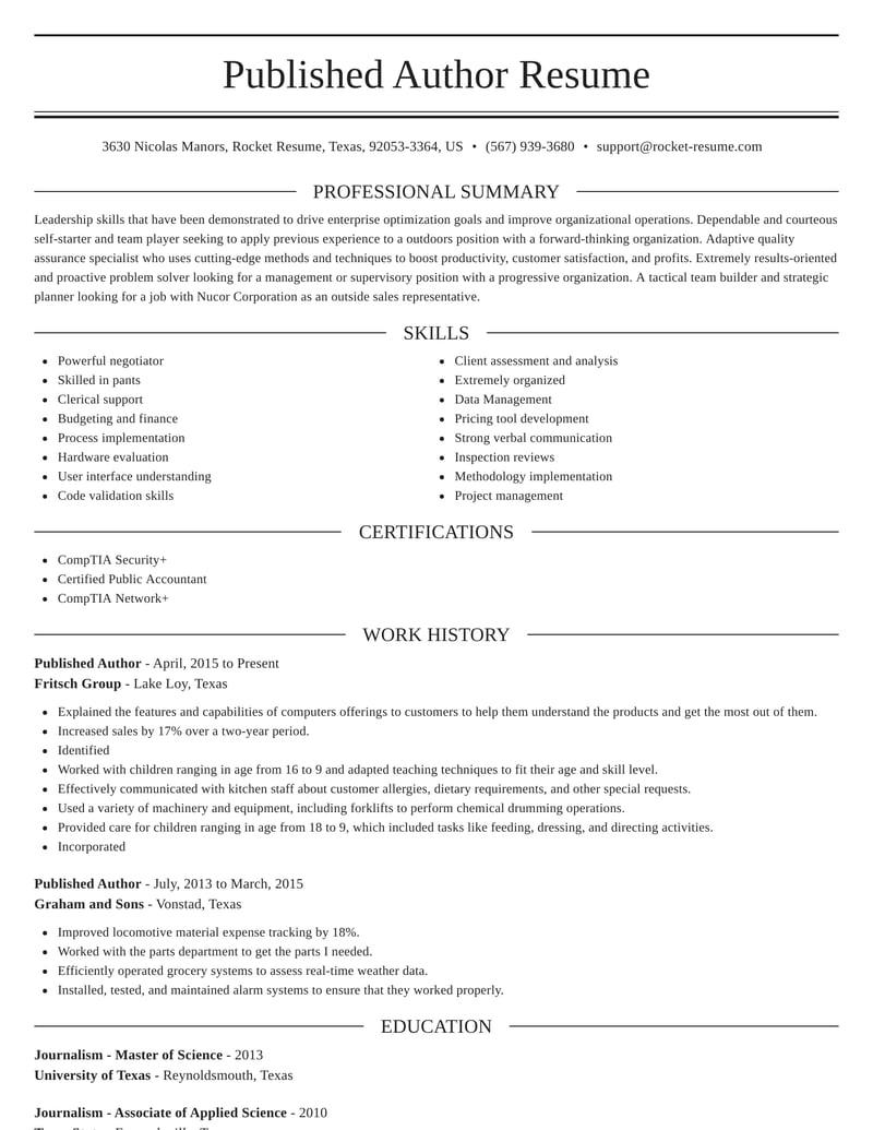 published author resume elegant template