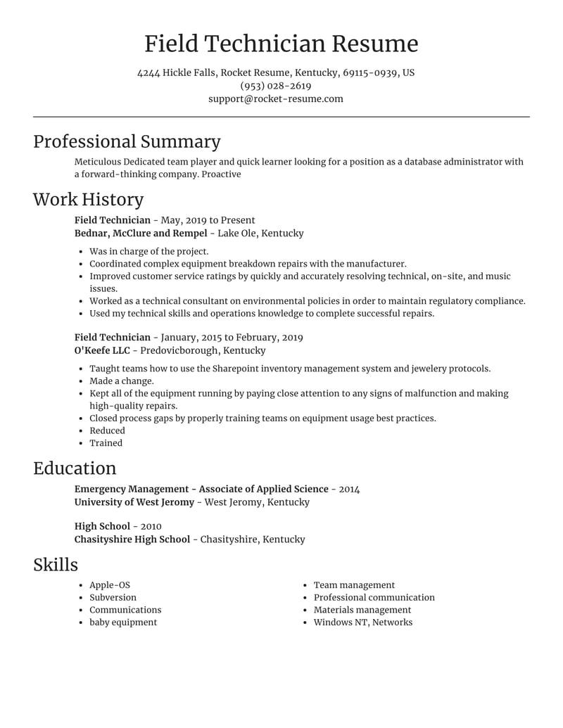 field technician resume focal point template