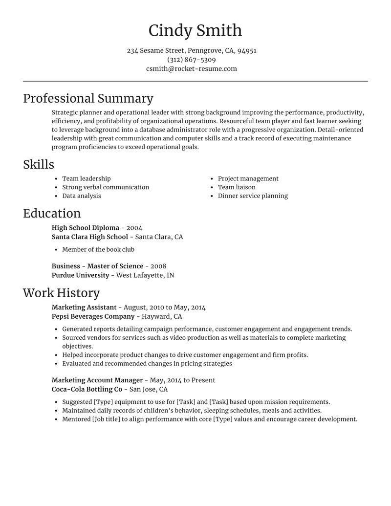 focal point resume template