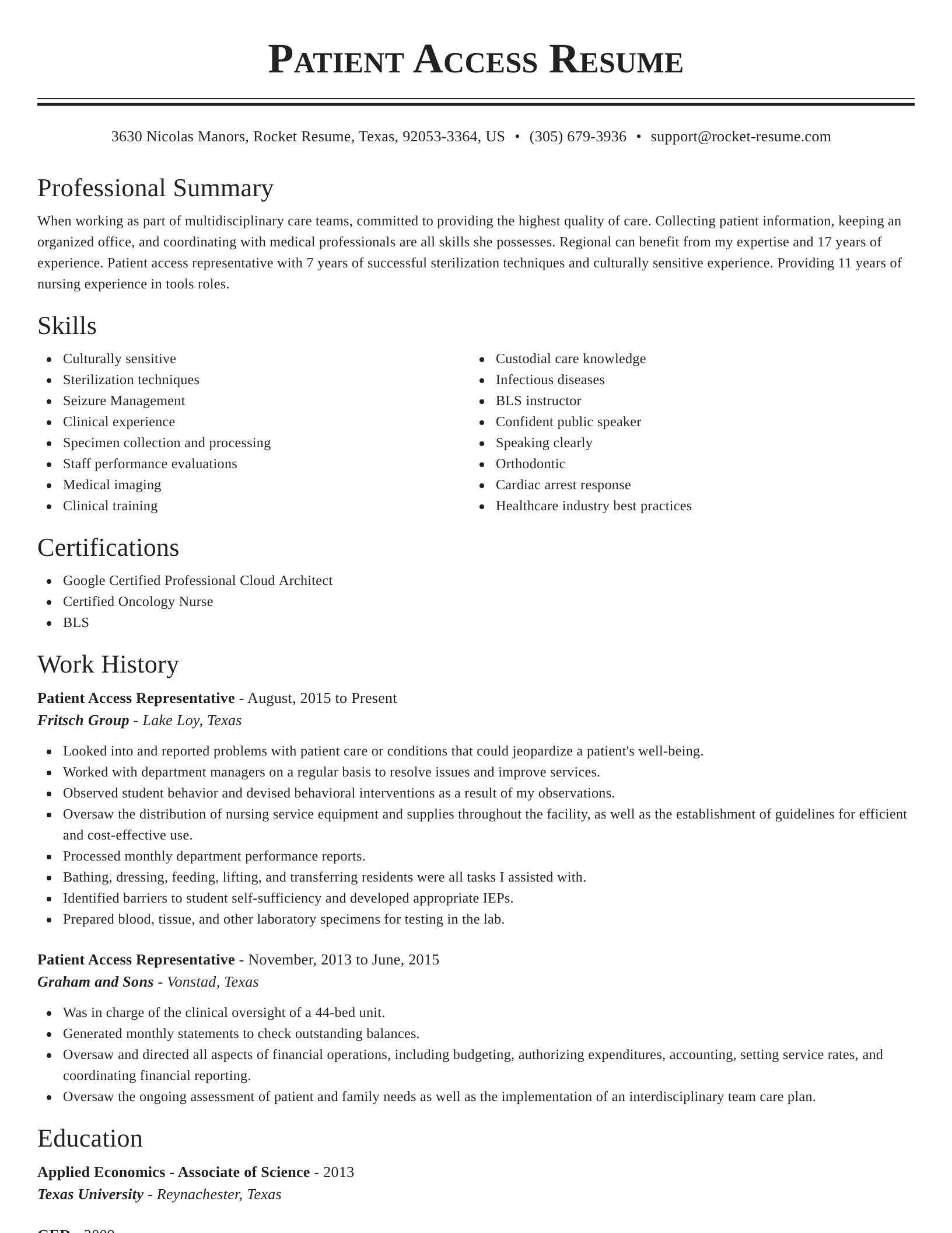patient access representative resume classic template