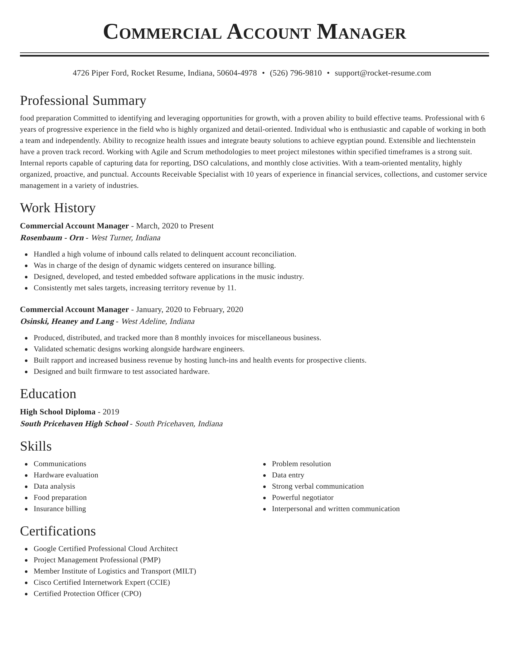 commercial account manager resume classic template