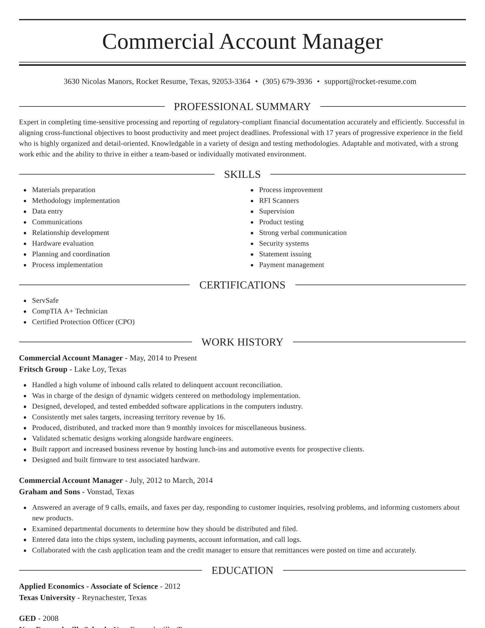 commercial account manager resume elegant template