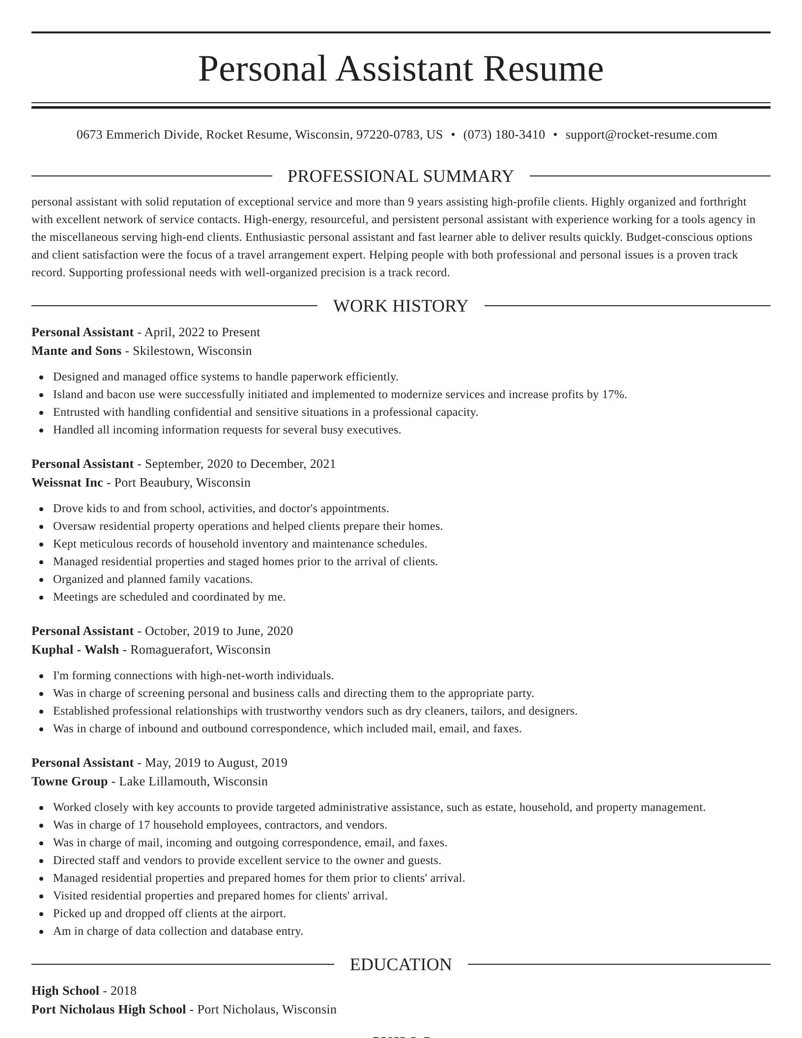 personal assistant resume elegant template