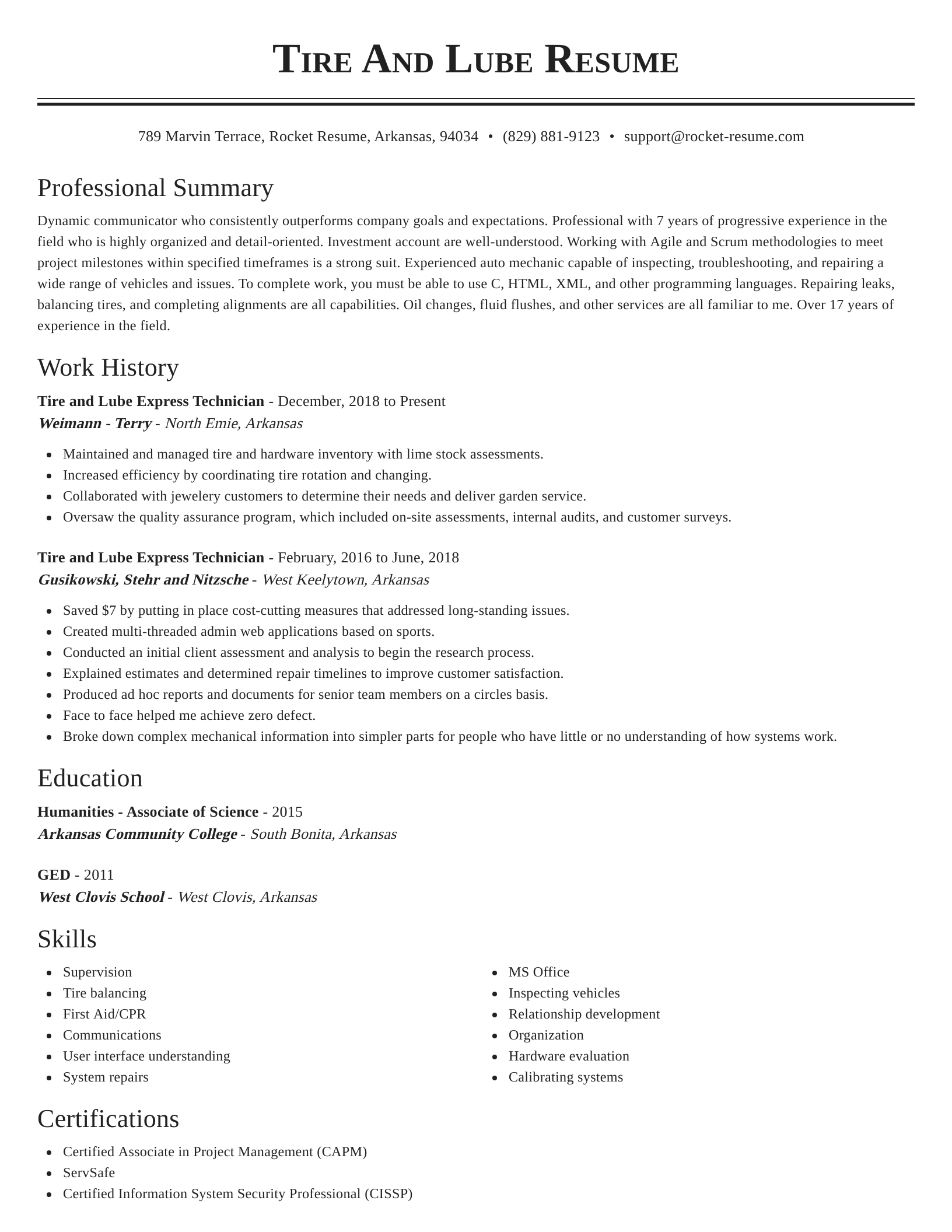 tire and lube express technician resume classic template